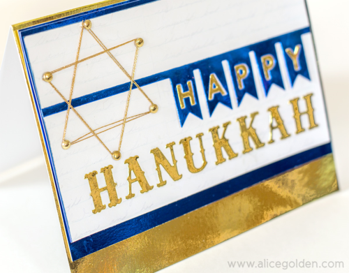 Alice Golden Foiled Hanukkah Card 2