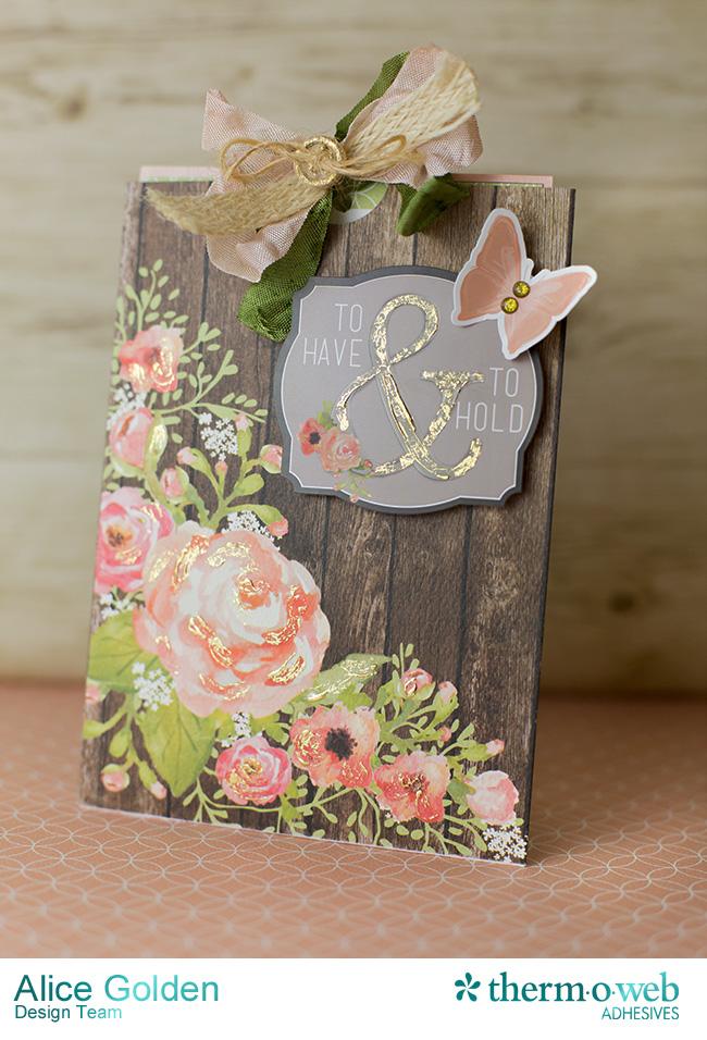 Alice Golden DecoFoil Rustic Elegance Wedding Gift Card Holder 1