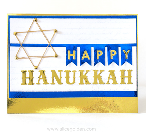 Alice Golden Foiled Hanukkah Card 1